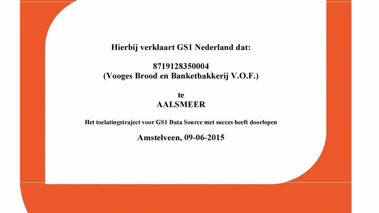 Bakkerij Vooges behaalt GS1 DAS certificaat